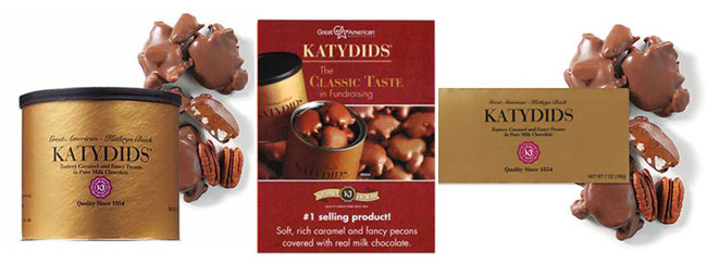 Katydids Fundraising Candy in tins, boxes, or order-taker brochures