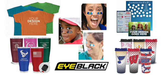 Custom Spirit Fundraisers: shirts, eye-black, tumblers, scratchcards