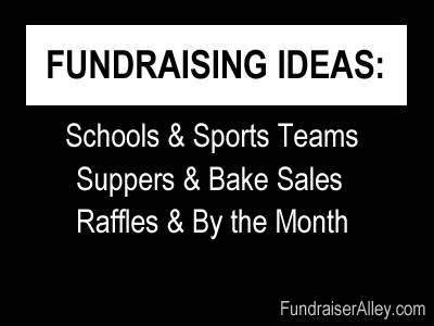 Fundraising Ideas for schools, sports teams, suppers, bake sales, raffles, and by the month