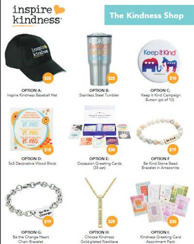 Inspire Kindness Brochure Sale Items