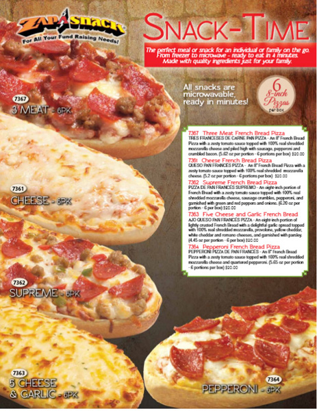 Zap-A-Snack Pizza Fundraiser Brochure