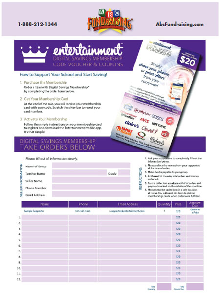 Entertainment Card Order Form