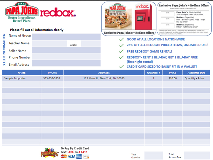 Pizza and Movie Discount Card Order-Taker Form
