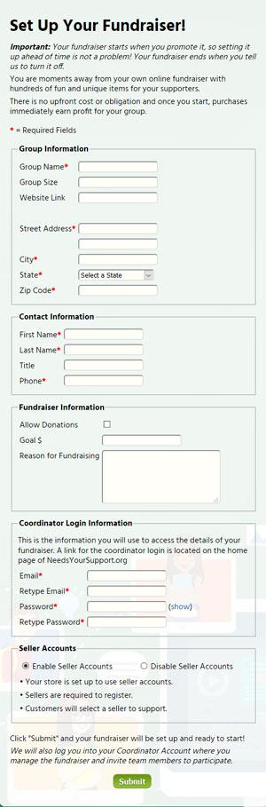 Set Up Form screenshot