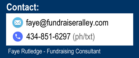 Contact: faye@fundraiseralley.com, 434-851-6297